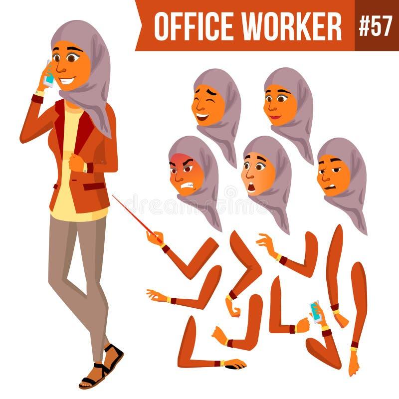 Арабский вектор работника офиса Женщина одевает традиционное исламско Hijab Профессиональный офицер, клерк Взрослое дело иллюстрация вектора