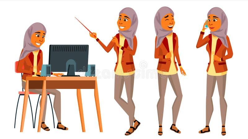 Арабский вектор работника офиса женщины Женщина Комплект Hijab исламско Человек дела Генератор офиса Дама Сторона Эмоция иллюстрация вектора