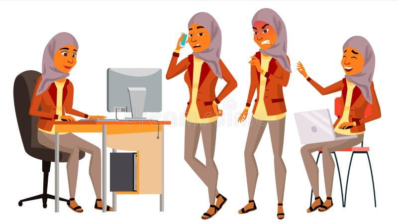 Арабский вектор работника офиса женщины Женщина Hijab Житель Саудовской Аравии, эмираты, Катар, ОАЭ Усмехаясь холопка, офицер пор иллюстрация штока