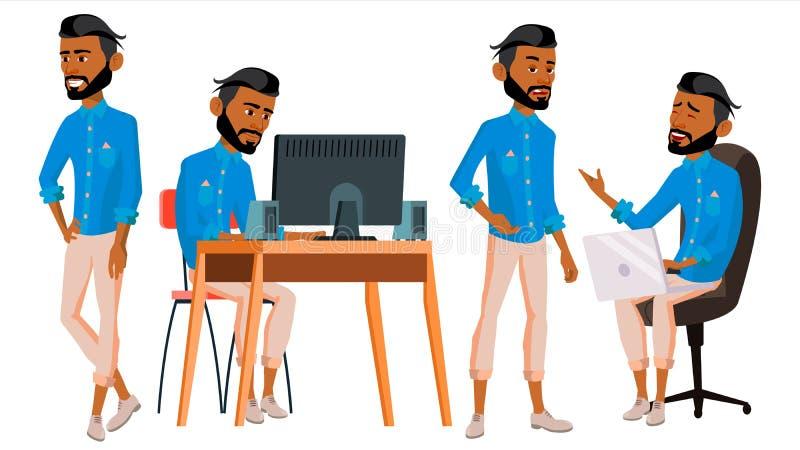 Арабский вектор работника офиса человека Арабские традиционные одежды Ghutra вектор художнической иллюстрации дела установленный  иллюстрация штока