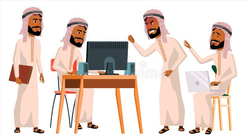 Арабский вектор работника офиса человека Житель Саудовской Аравии, эмираты, Катар, ОАЭ вектор художнической иллюстрации дела уста бесплатная иллюстрация