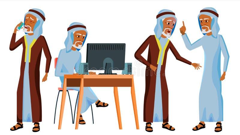 Арабский вектор работника офиса человека исламско одевает традиционное старо вектор художнической иллюстрации дела установленный  бесплатная иллюстрация