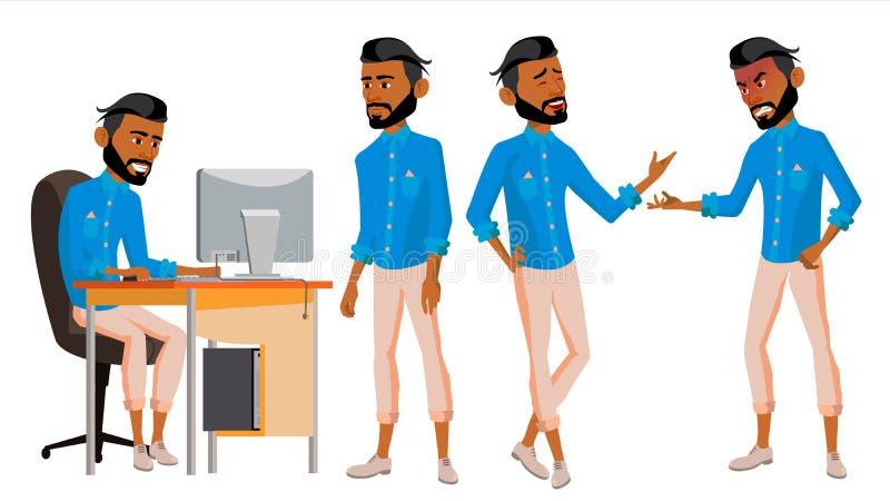 Арабский вектор работника офиса человека Комплект Араб, мусульманин исламско Эмоции стороны, различные жесты Оживленные элементы  иллюстрация штока