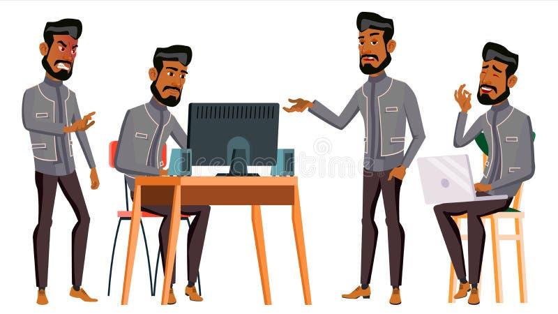 Арабский вектор работника офиса человека вектор художнической иллюстрации дела установленный исламско Лицевые эмоции, жесты Оживл бесплатная иллюстрация