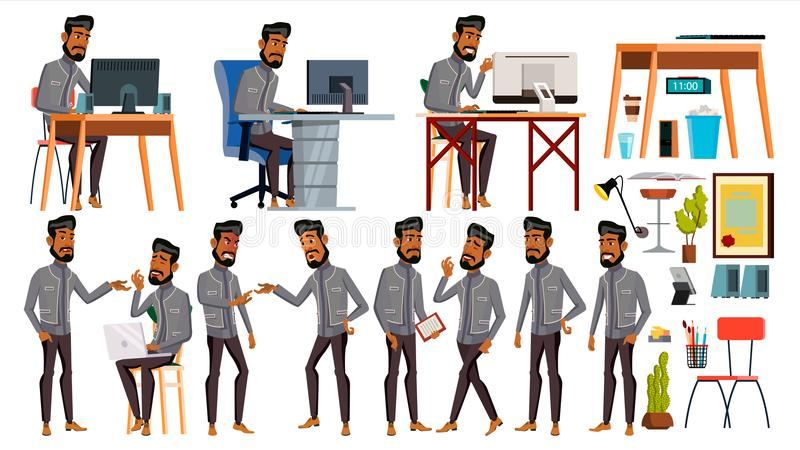 Арабский вектор работника офиса человека вектор художнической иллюстрации дела установленный Эмоции стороны, различные жесты Ожив иллюстрация вектора