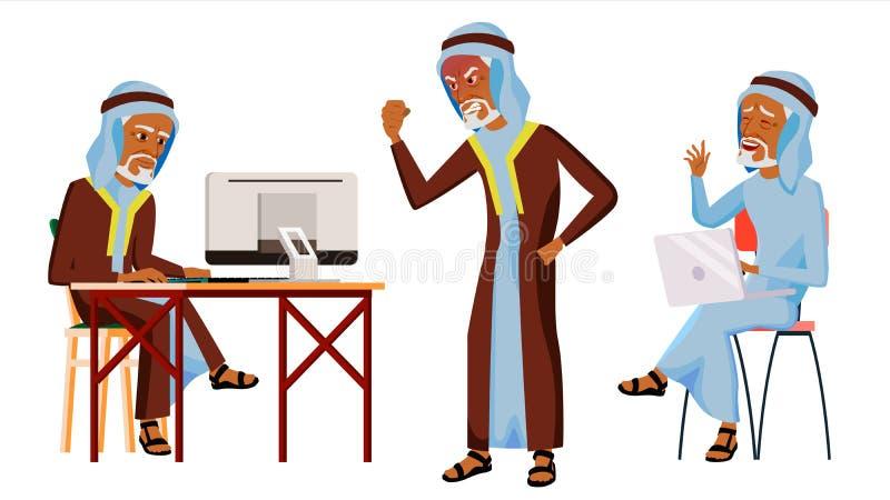 Арабский вектор работника офиса человека Thawb, Thobe старо одевает традиционное вектор художнической иллюстрации дела установлен бесплатная иллюстрация