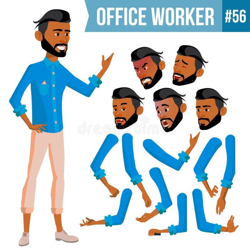 Арабский вектор работника офиса Thawb, Thobe Ghutra Эмоции стороны, различные жесты Комплект творения анимации Бизнес иллюстрация штока