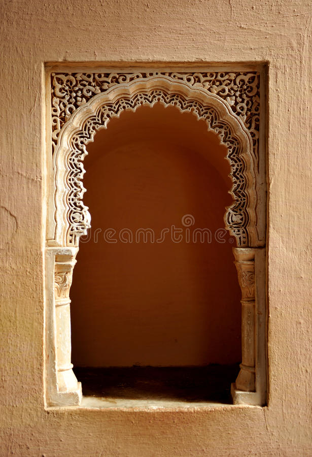 Арабский дворец Alcazaba, Малага, Андалусия, Испания стоковое фото
