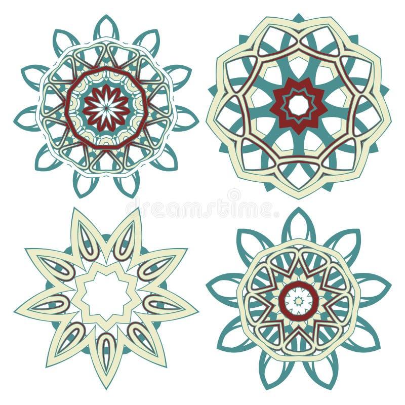 Арабский красочный комплект мандалы Этнические племенные орнаменты стоковые изображения rf