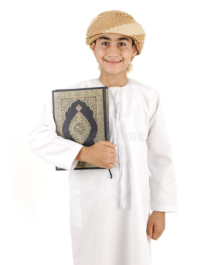 Арабский мальчик с Koran стоковые изображения rf