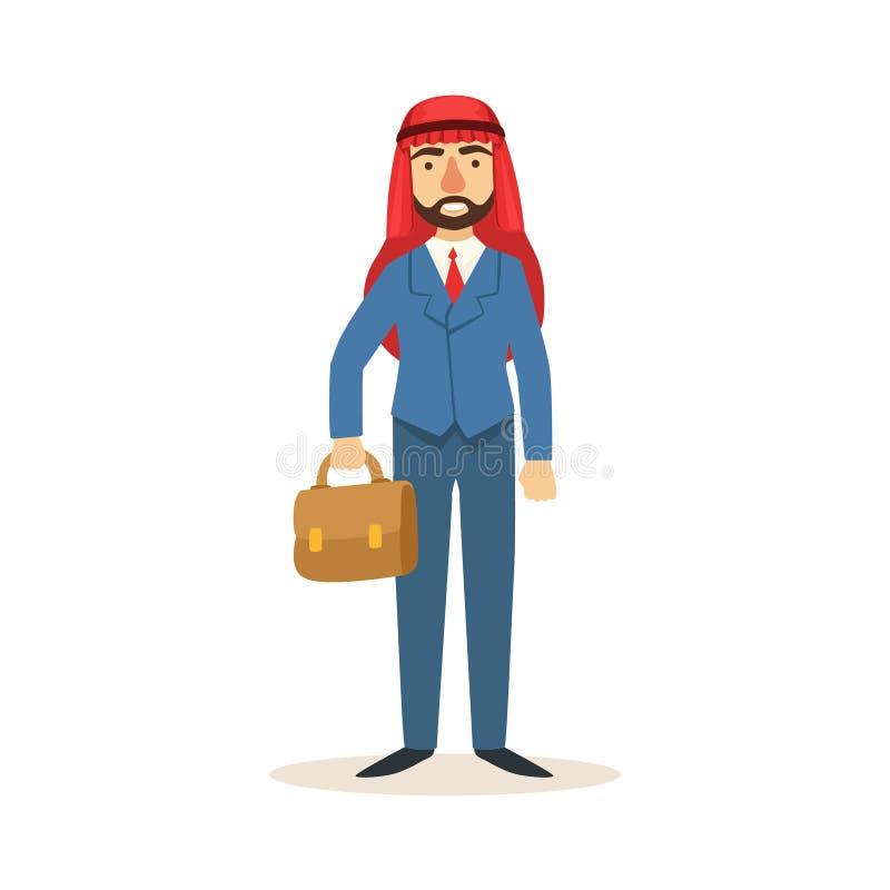 Арабский мусульманский бизнесмен одетый в дорогом костюме и нося головном уборе Kufiya работая в финансовой сфере дела бесплатная иллюстрация