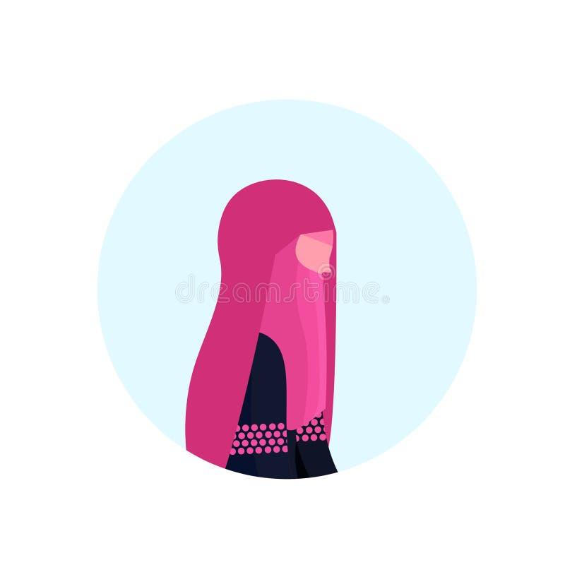 Арабский профиль paranja женщины изолировал квартиру портрета персонажа из мультфильма одежд значка воплощения женскую традиционн бесплатная иллюстрация