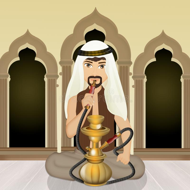 Арабский человек курит кальян иллюстрация штока
