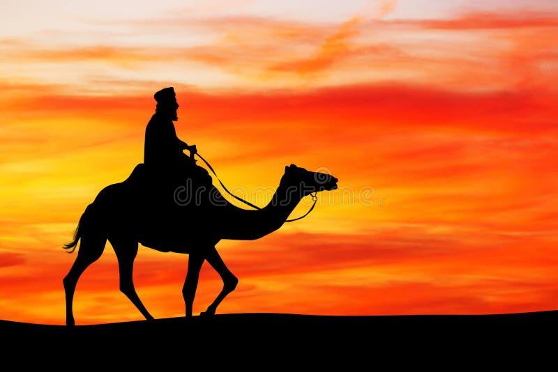 Арабский человек на верблюде на заходе солнца иллюстрация штока