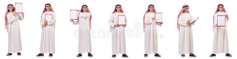 Арабский человек при связыватель изолированный на белизне стоковое фото
