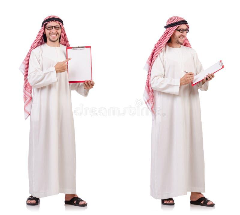Арабский человек при связыватель изолированный на белизне стоковые фотографии rf