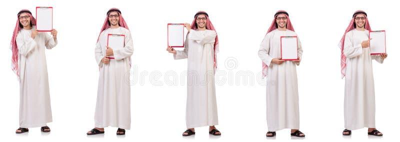 Арабский человек при связыватель изолированный на белизне стоковая фотография rf