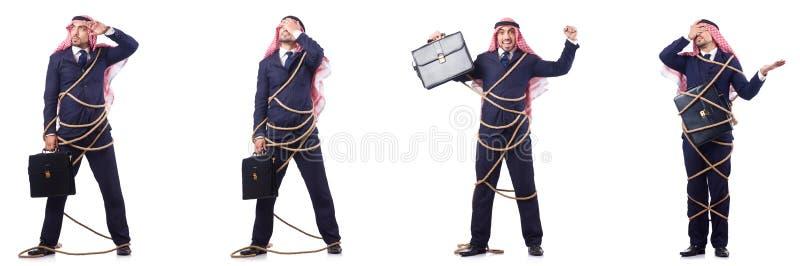 Арабский человек связанный вверх с веревочкой стоковое фото rf