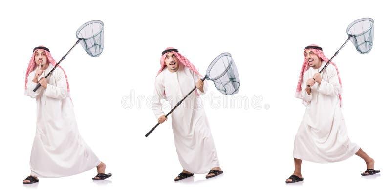 Арабский человек при заразительная сеть изолированная на белизне стоковые изображения