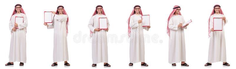 Арабский человек при связыватель изолированный на белизне стоковое фото rf