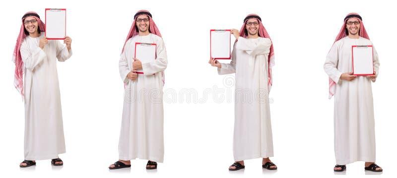 Арабский человек при связыватель изолированный на белизне стоковые изображения