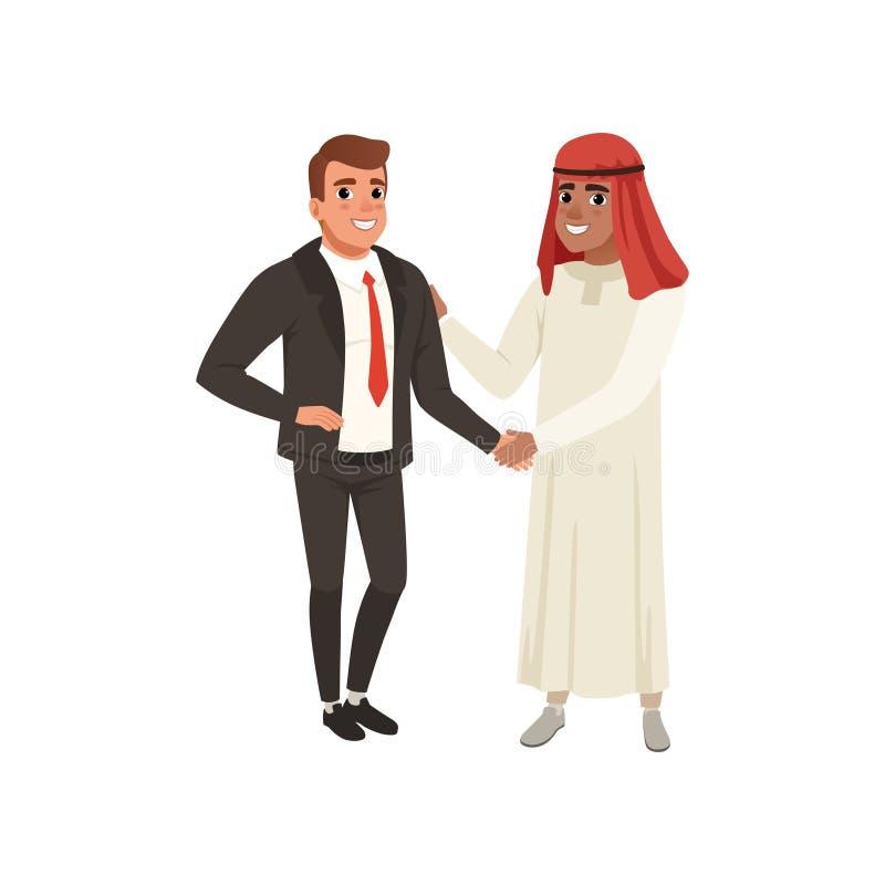 Арабский handshaking бизнесмена к его иллюстрации вектора делового партнера на белой предпосылке иллюстрация вектора