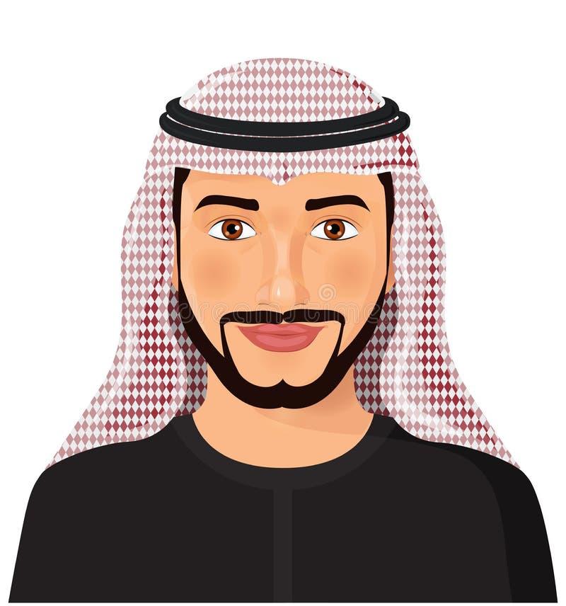 Арабское вид спереди стороны воплощения человека в традиционном мусульманском cartoo шляпы иллюстрация вектора