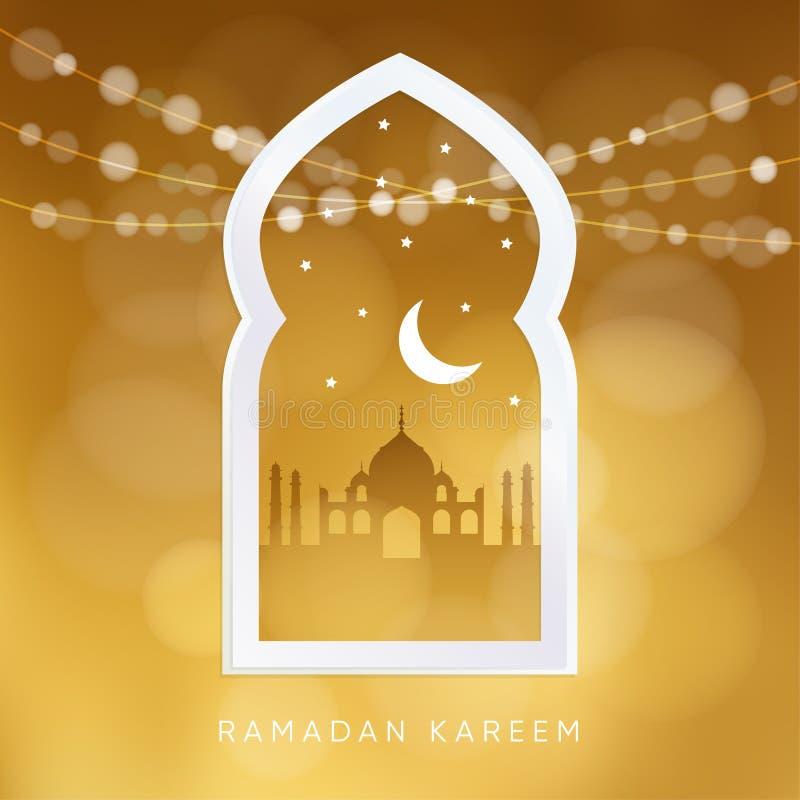 Арабское окно с силуэтом мечети, луны, звезд и светов bokeh Поздравительная открытка, приглашение для мусульман иллюстрация вектора