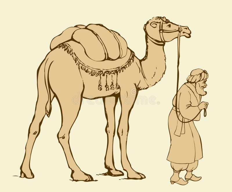 Араб с верблюдом гружёным предпосылка рисуя флористический вектор травы иллюстрация вектора