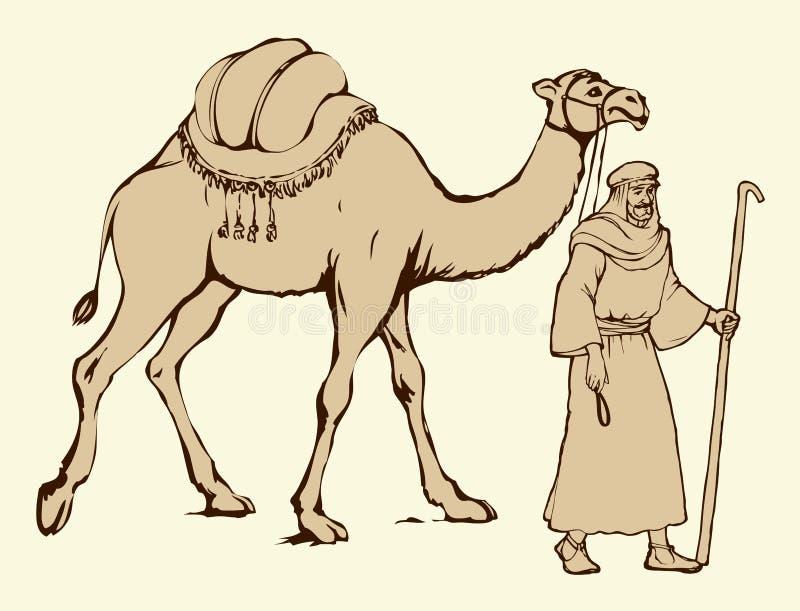 Араб с верблюдом гружёным предпосылка рисуя флористический вектор травы бесплатная иллюстрация
