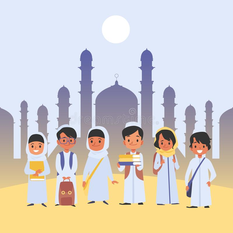 Аравийская группа детей стоит в традиционных одеждах со стилем мультфильма сумок школы бесплатная иллюстрация