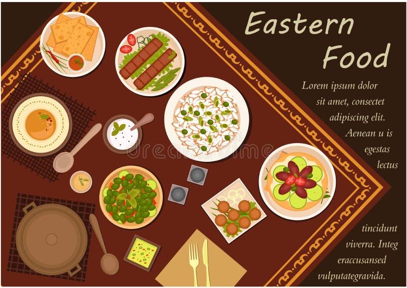 Аравийская еда кухни с праздничным обедающим бесплатная иллюстрация