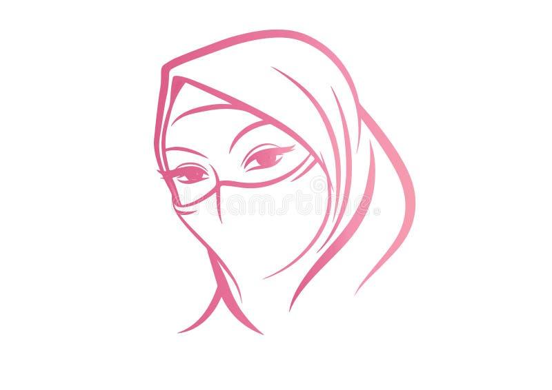 Аравийская женщина в искусстве вектора эскиза Hijab иллюстрация вектора