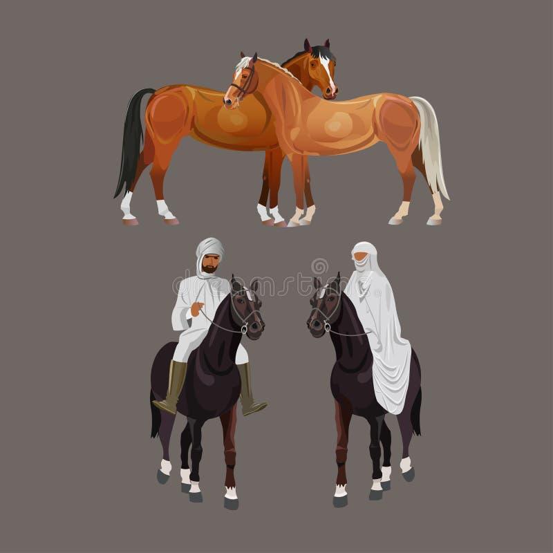 Аравийские всадники и лошади бесплатная иллюстрация