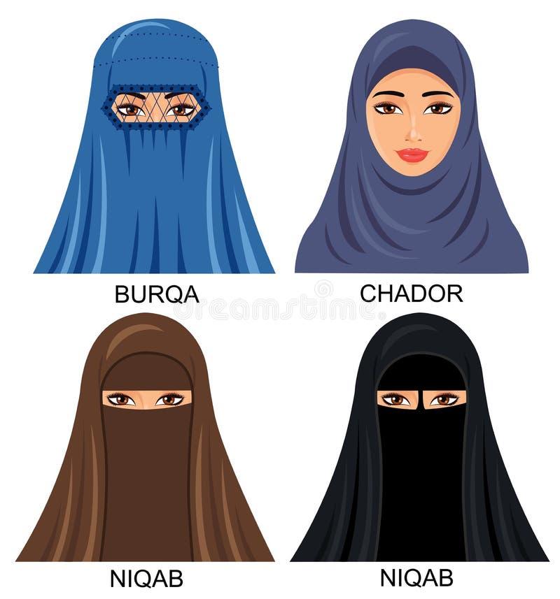 Аравийские мусульманские женщины в традиционном головном платке headwear - Illustr иллюстрация вектора