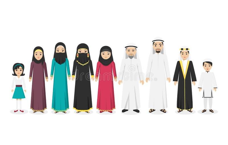 Аравийские люди семьи конструируют плоско иллюстрация вектора