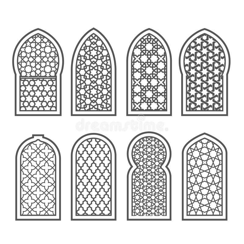 Аравийское окно с орнаментом - арабеской скрежетать иллюстрация штока