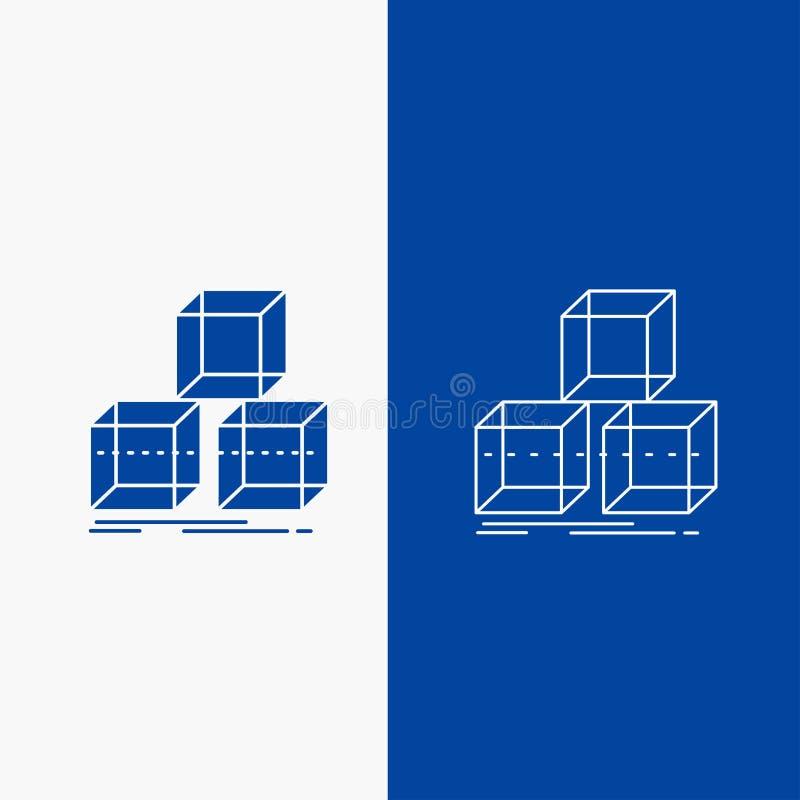 Аранжируйте, конструируйте, штабелируйте, 3d, кнопка сети линии коробки и глифа в знамени голубого цвета вертикальном для UI и UX иллюстрация вектора
