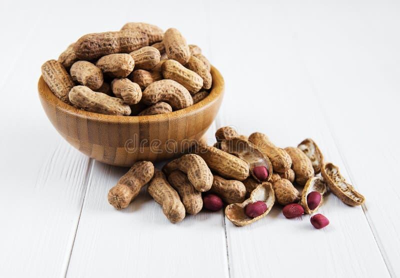 Арахисы в ореховой скорлупе стоковое изображение