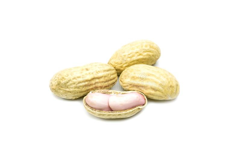 арахисы изолированные предпосылкой белые Макрос арахиса Семя арахисов стоковые изображения
