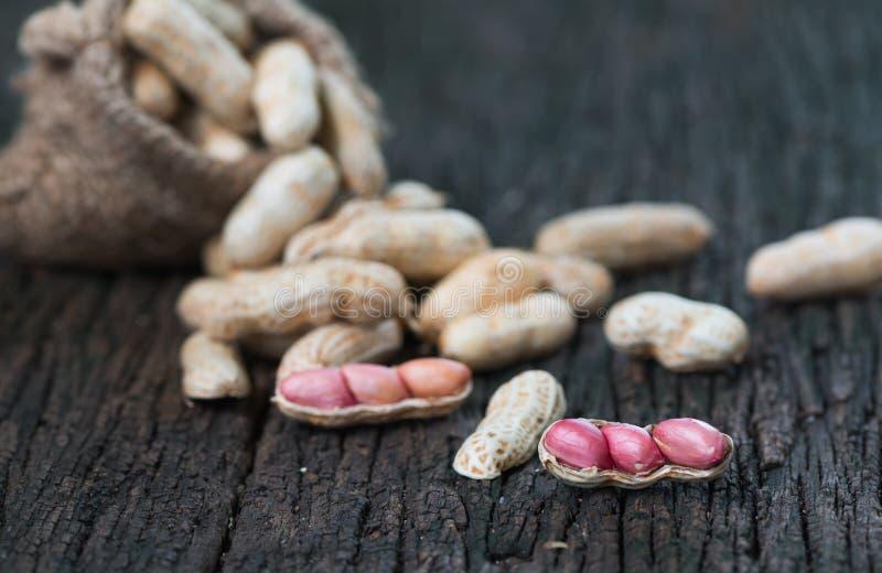 Арахис семени на деревянной предпосылке стоковая фотография rf