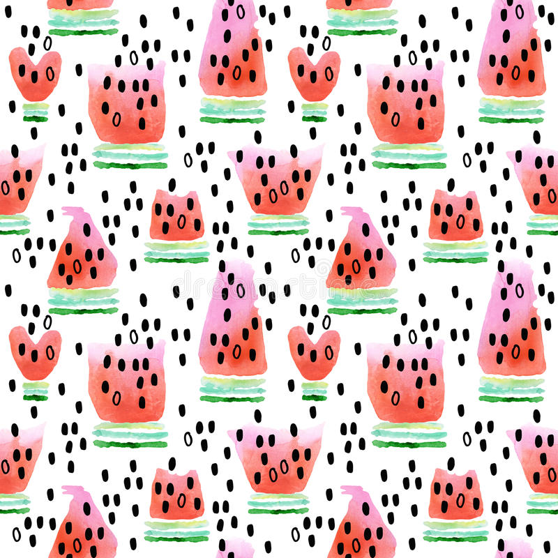 Арбуз Безшовная картина с арбузом Иллюстрация акварели куска арбуза иллюстрация штока