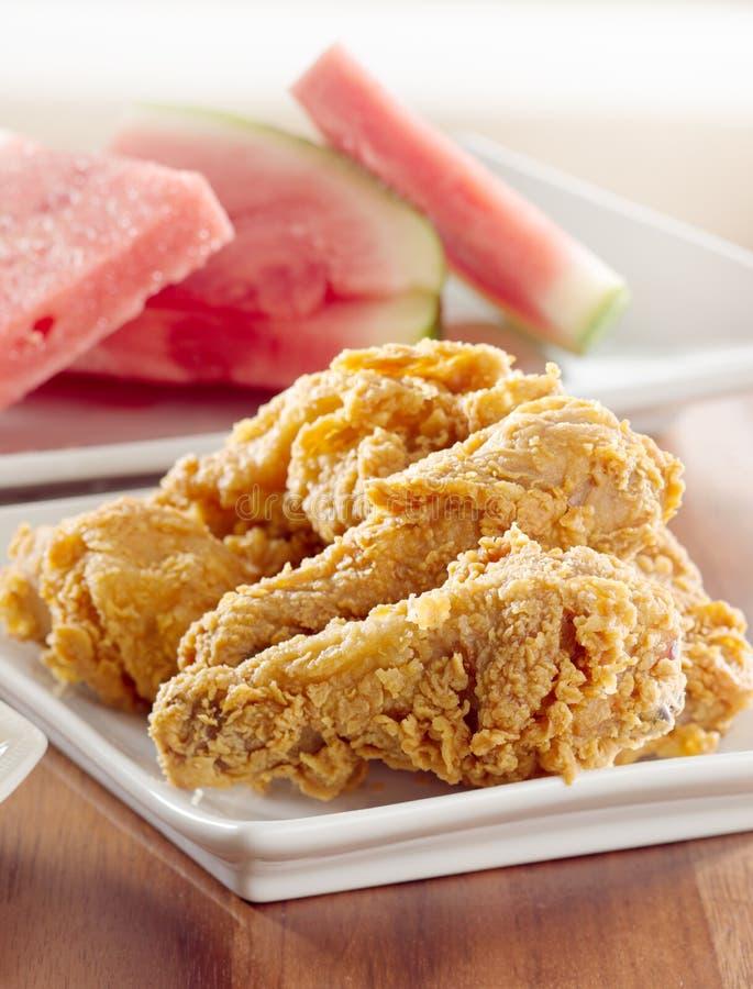 арбуз зажаренный цыпленком стоковые фотографии rf