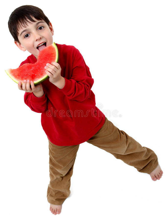 арбуз мальчика стоковое изображение