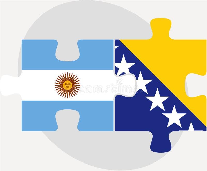 Аргентинка и флаги Боснии Herzegovinan в головоломке иллюстрация штока