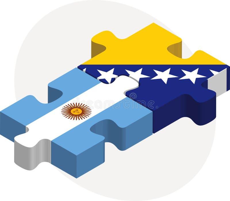 Аргентинка и флаги Боснии Herzegovinan в головоломке бесплатная иллюстрация