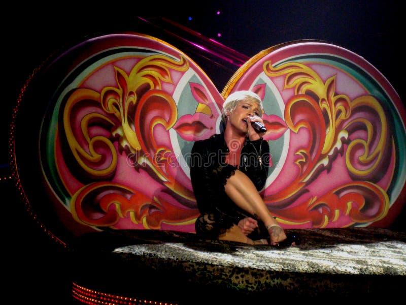 Арена Nuernberg, Германия - 28-ое марта 2009: Пинк в путешествии Funhouse концерта на арене Nuernberg Icehall стоковые фотографии rf