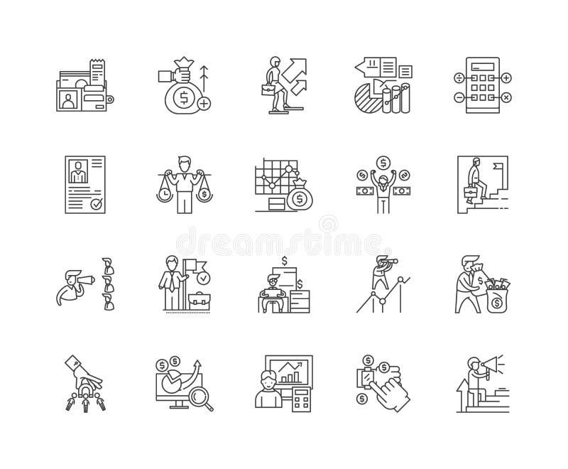 Арендодатели финансов выравнивают значки, знаки, набор вектора, концепцию иллюстрации плана бесплатная иллюстрация