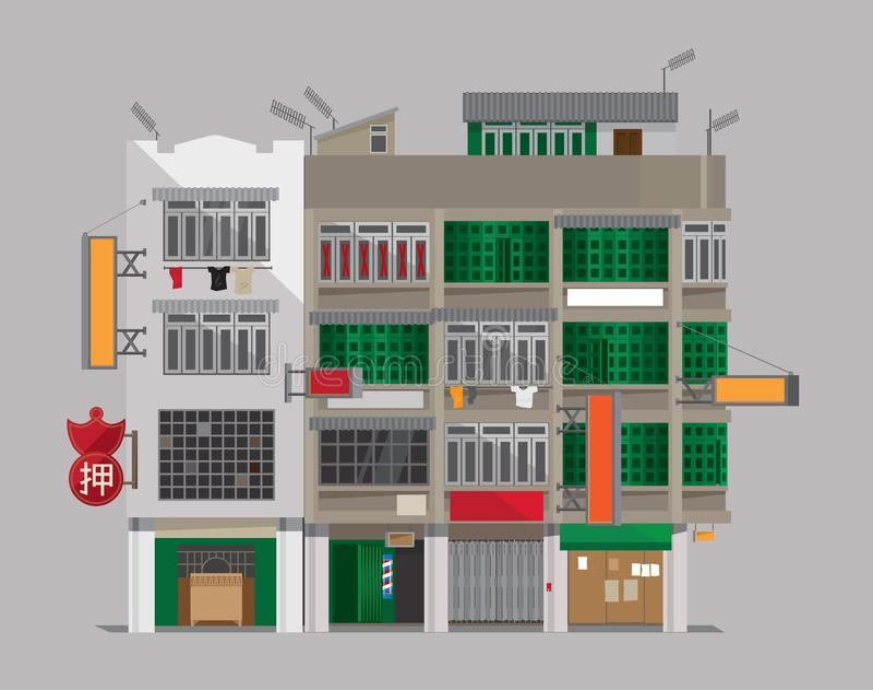 Арендуемые дома старые Kong-стиля Hong бесплатная иллюстрация