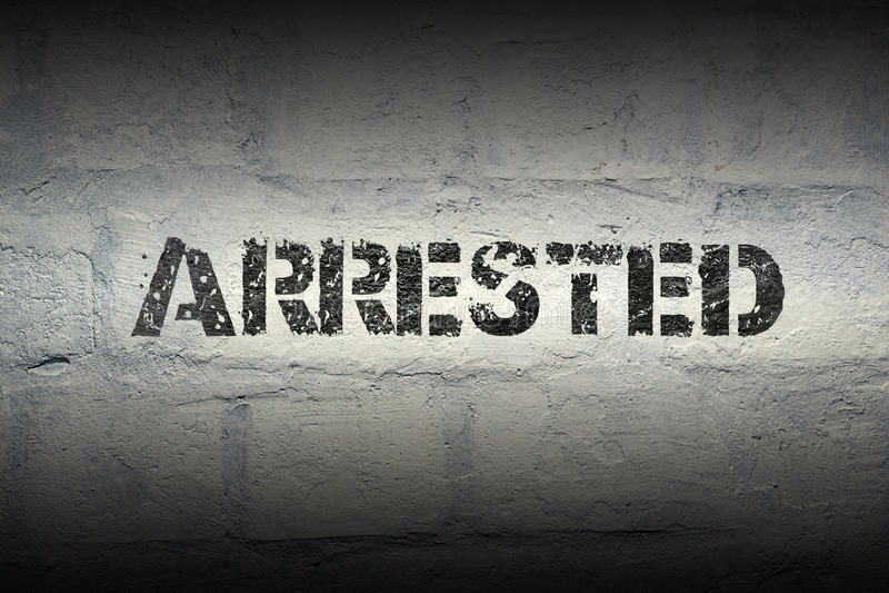 Арестованное СЛОВО GR стоковые изображения rf